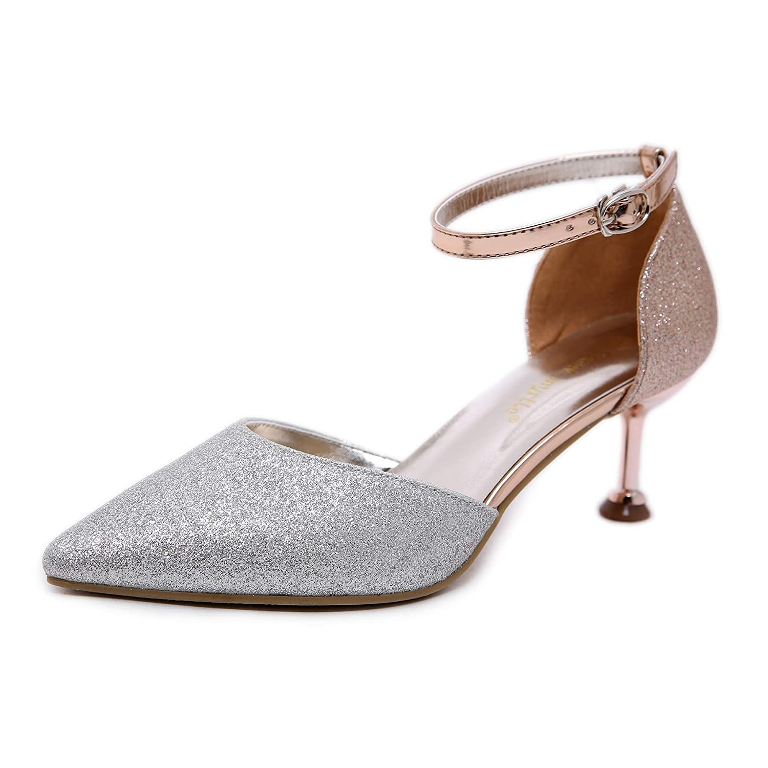 FengJingYuan Womens high Heels Versatile high-Heeled Pointed Cats and Shoes Hollow Word Buckle Color Matching Single Shoes