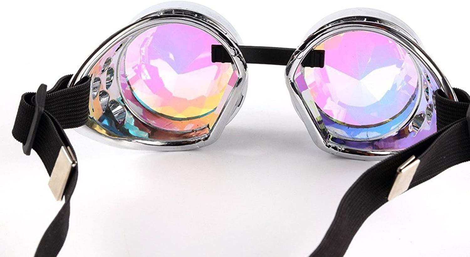 Steampunk Goggles Kaleidoscope Lenses Cosplay Party Accessories Rustic Gothic Punk Rave Vintage Glasses Antique Silver Diamond