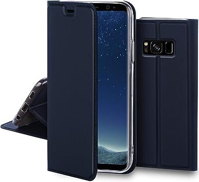 Moozy Funda con Tapa para Samsung S8, Azul Oscuro – Elegante ...