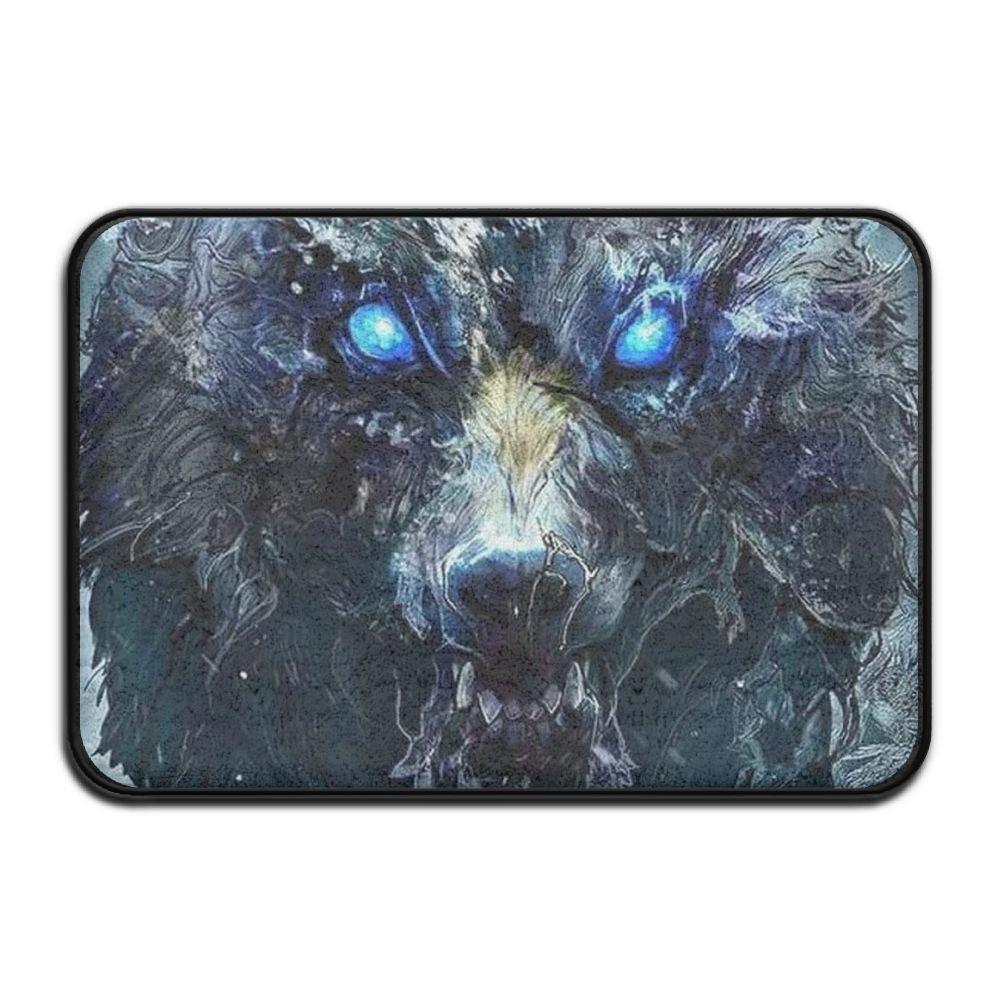 HOMESTORES Blue Eyes Cool Wolf Painting Art Bath Mat - Memory Foam Shower Spa Rug Bathroom Kitchen Floor Carpet Home Decor With Non Slip Backing17x24 Inch
