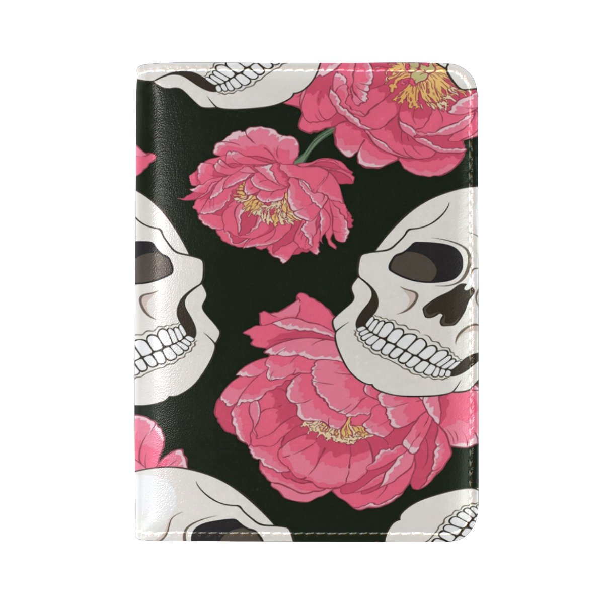 ALAZA Peony Flower Sugar Skull PU Leather Passport Holder Cover Case Travel One Pocket