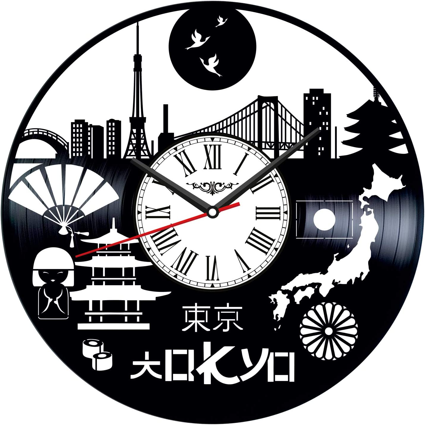 Tokyo Japan Vinyl Record Wall Clock Poster - Vintage Home Decor Kitchen Bedroom Living Room Office - Unique Handmade Gift for Men Woman Friends Boys - 12 inches