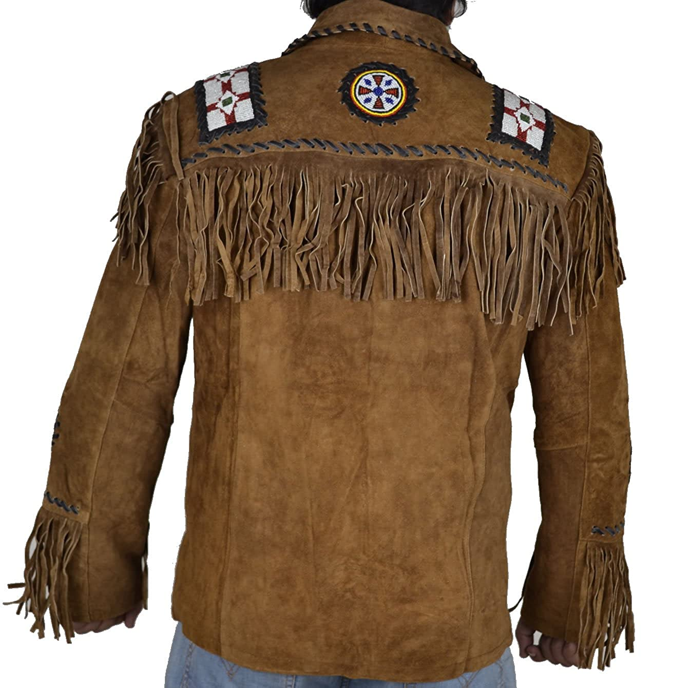 Sleekhides Mens Western Cowboy Suede Leather Jacket Fringed & Beaded at Amazon Mens Clothing store: