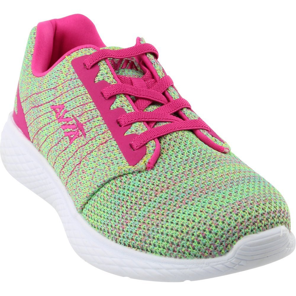 Avia Girls' Avi-Kismet Running Shoe, Highlighter Lime/Aruba Aqua/Pink Engery, 4 M US Big Kid