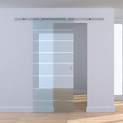 HOMCOM 2M / 6 6ft Modern Sliding Barn Door Hardware Track System Kit  Aluminum-alloy w/ Glass Door Set