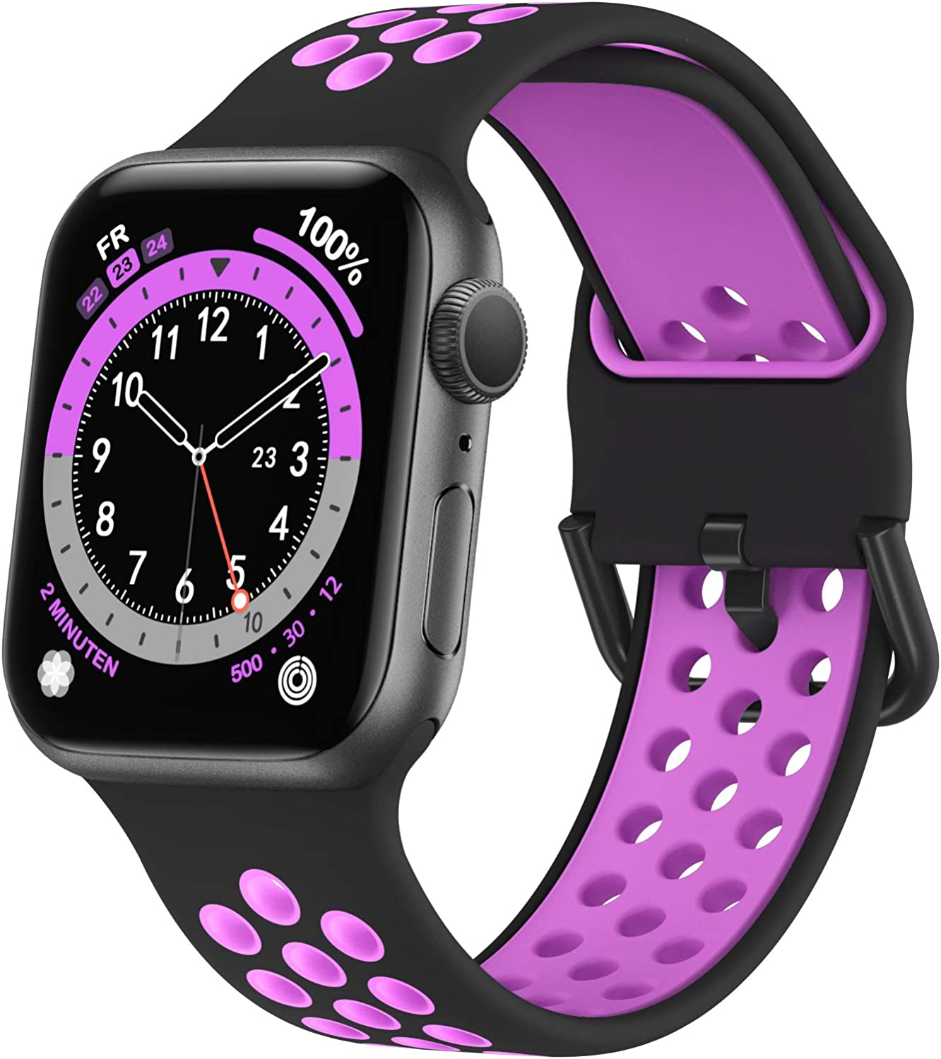 Marlova Compatible with Apple Watch Bands 44mm 42mm 40mm 38mm, Soft Silicone Breathable Air Hole Sport Wristbands with Classic Clasp for iWatch Series Se/6/5/4/3/2/1 (Watch Not Included)