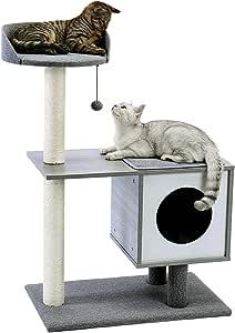 Eono by Amazon Moderno Arbol Rascador para Gatos De Madera Casa Perca Retirable Lavable Estera Gatitos Mueble Gris Altura 38