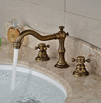 Genial Rozin Antique Brass Widespread 3 Holes Bathroom Sink Faucet Dual Cross Knobs  Mixer Tap