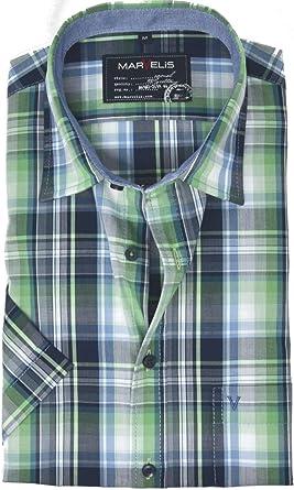 Marvelis Casual Camisa a Cuadros Verde Verde M: Amazon.es: Ropa y accesorios