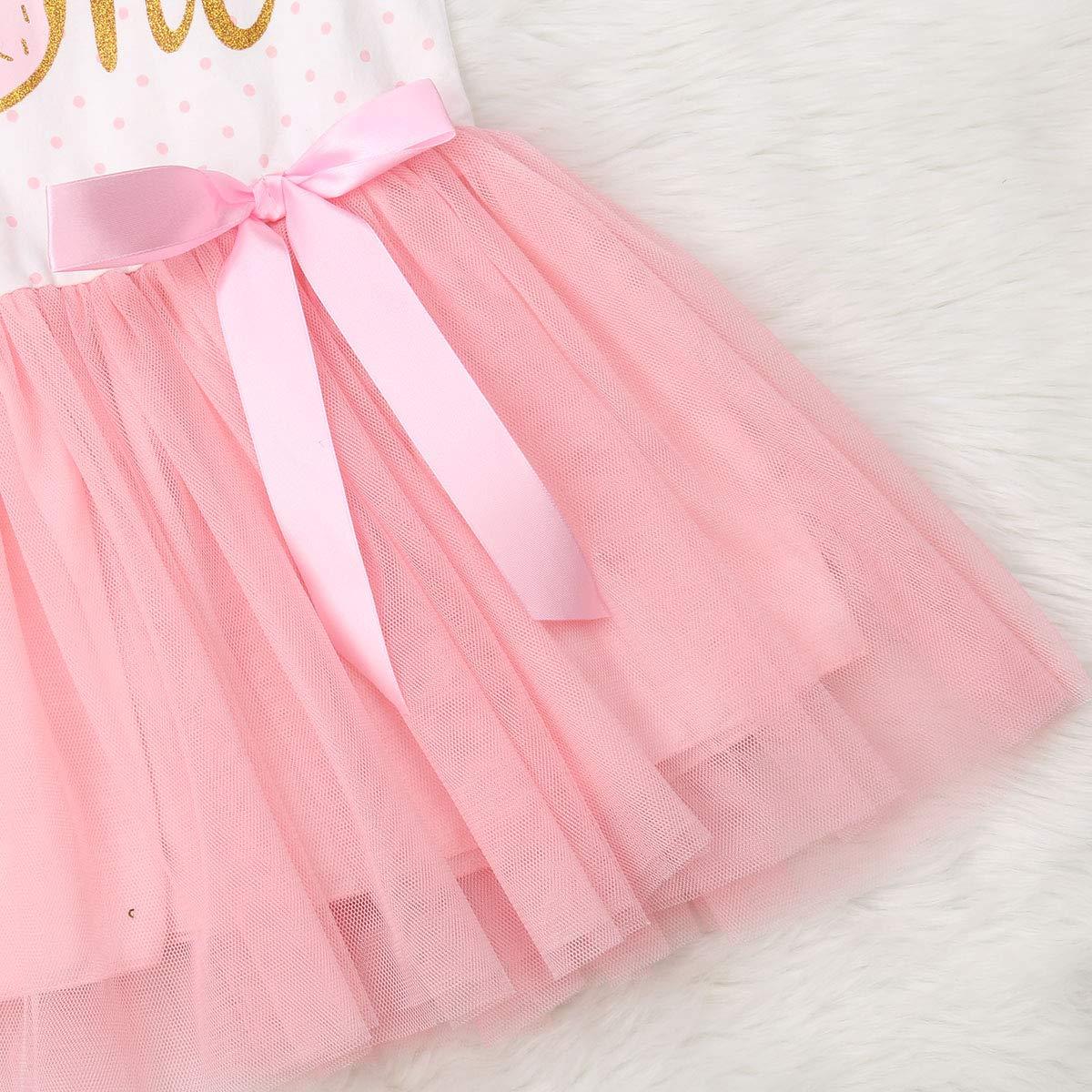 BAOSHI1 Newborn Infant Baby Girls Pink Striped Tutu Dress,Toddler Kids Donut Tulle Dress Bowknot Headband Set