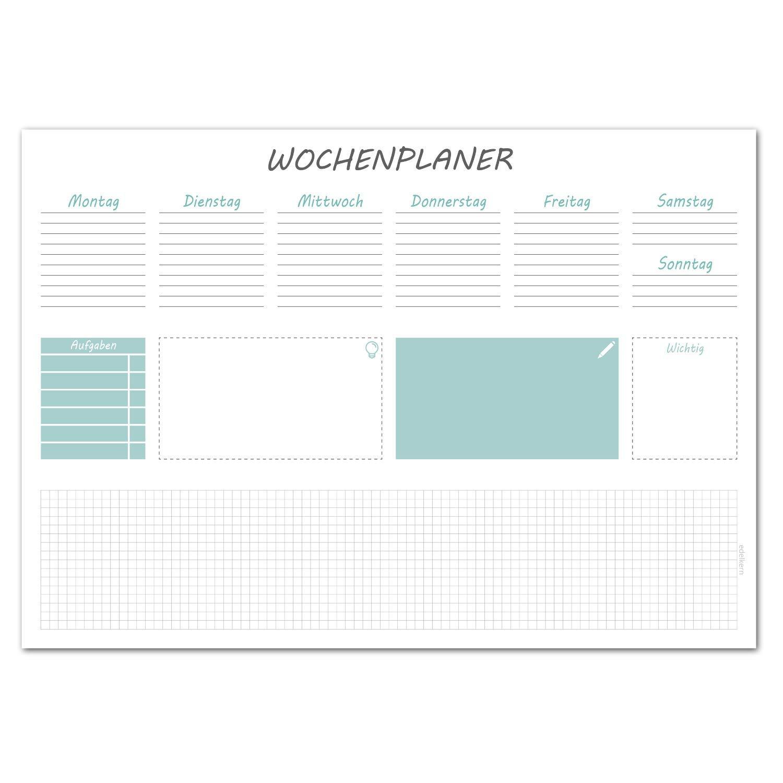EDELKERN Sous-main en papier pour enfants et adultes - Idéal comme bloc-notes, organiseur, planificateur hebdomadaire ou quotidien - Parfait pour votre liste de tâches quotidiennes – Format A2