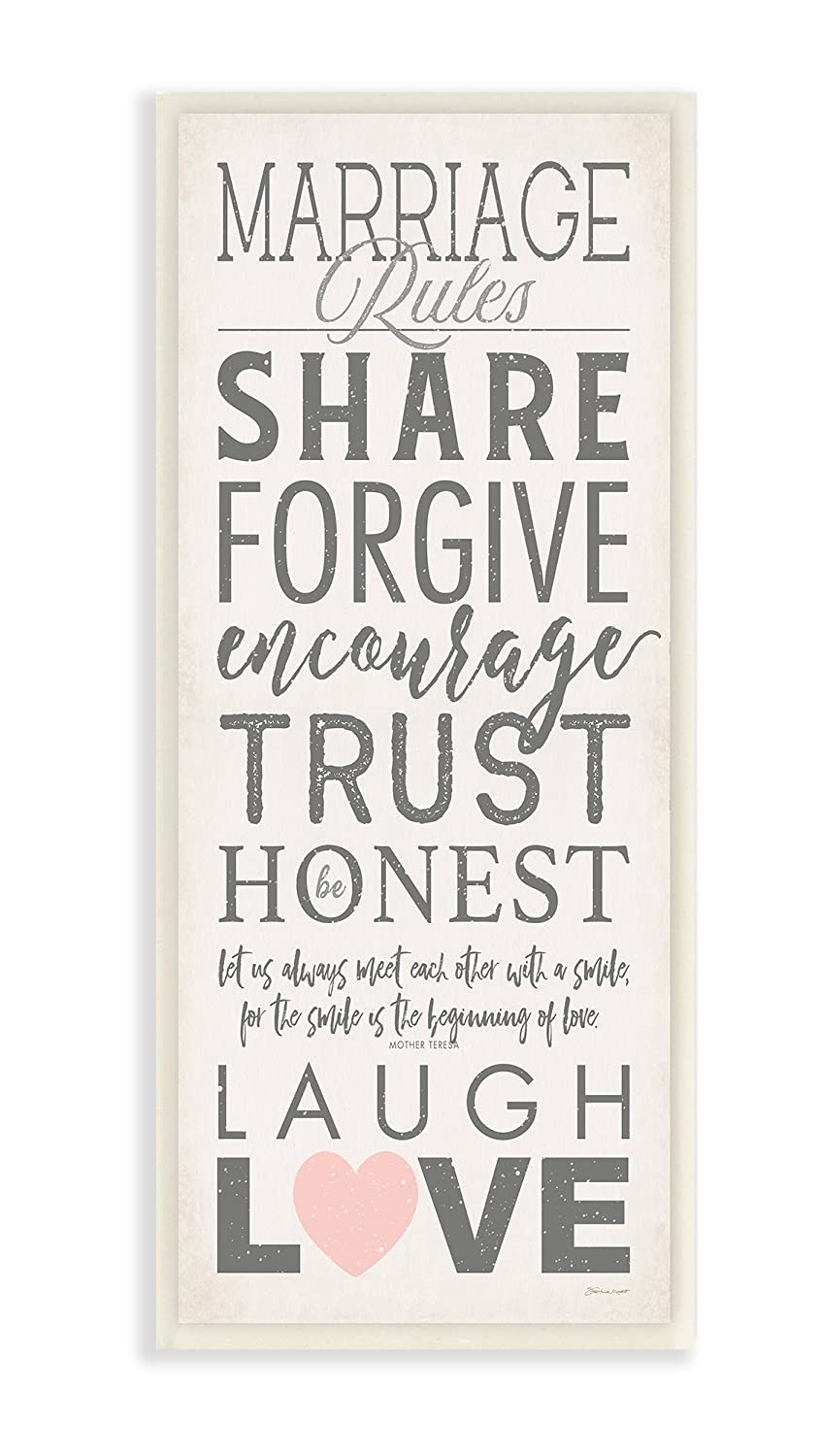 The Stupell Home Decor Collection Marriage Rules Laugh and Love Wall Plaque Art 7 x 17 Multicolor Stupell Industries fwp-157/_wd/_7x17
