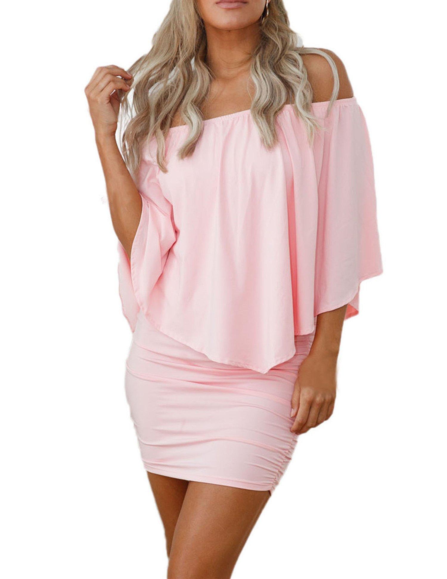 7b4d18fdf Sidefeel Women Off Shoulder Ruffles Party Mini Dress X-Large Pink ...
