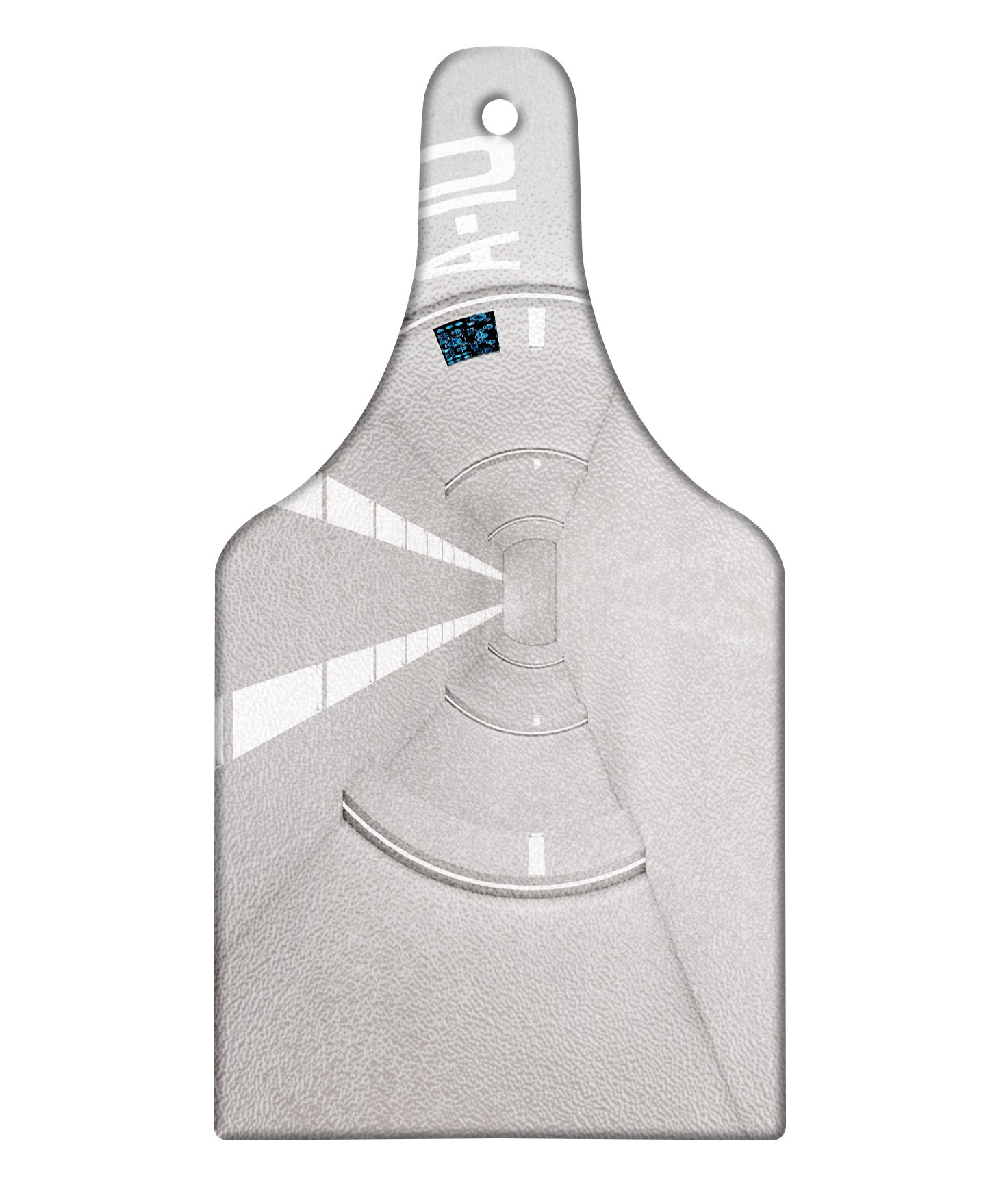 Lunarable Outer Space Cutting Board, Corridor of Spacecraft Architecture Arrival to Solar System Time Travel Scenery, Decorative Tempered Glass Cutting and Serving Board, Wine Bottle Shape, White