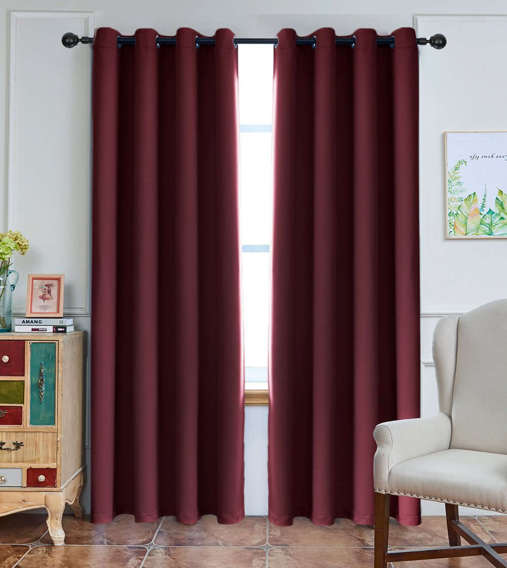Yakamok Noise Reducing Blackout Curtains Formaldehyde Wine Red