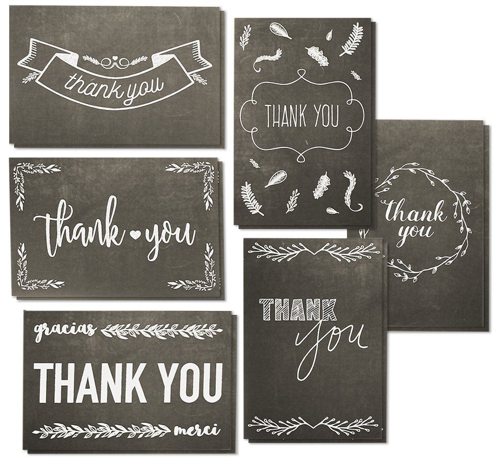 Juvale 48 Assorted Pack Thank You Note Cards Bulk Box Set - Blank On The Inside - Black And White Chalkboard Design - Includes 48 Greeting Cards And Envelopes - 10 x 15 Centimeters