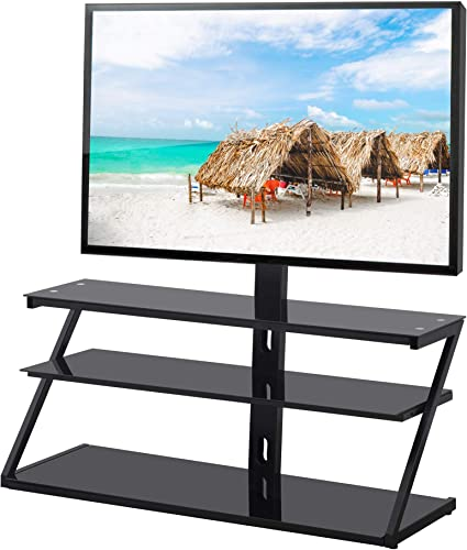 Glass TV Stand with Swivel Bracket Mount,Height Adjustable for 32 37 40 42 47 50 55 60 65 inch Plasma Flat or Curved Screen Television,Corner TV Base 3 Shelves Media Storage 44 Inch, Black