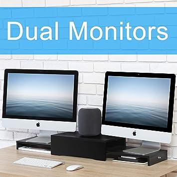 FITUEYES Madera Elevador del Monitor Soporte del Ordenador Portátil Negro DT209701WB: Amazon.es: Electrónica