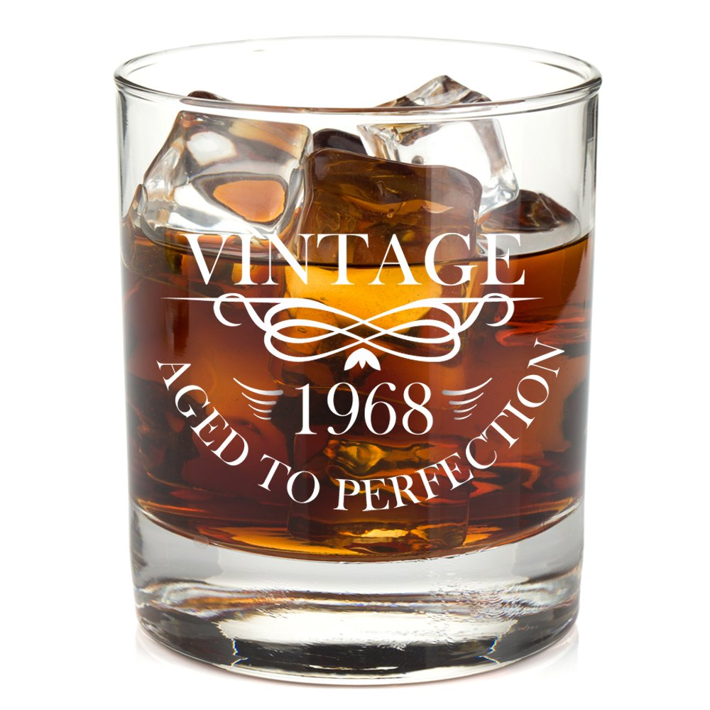 1968 50th Birthday Lowball Whiskey Glass for Men and Women - Vintage Aged To Perfection - Anniversary Gift Idea for Him, Her, Husband or Wife - 50 Year Old Presents for Mom, Dad - 11 oz Bourbon Scotch