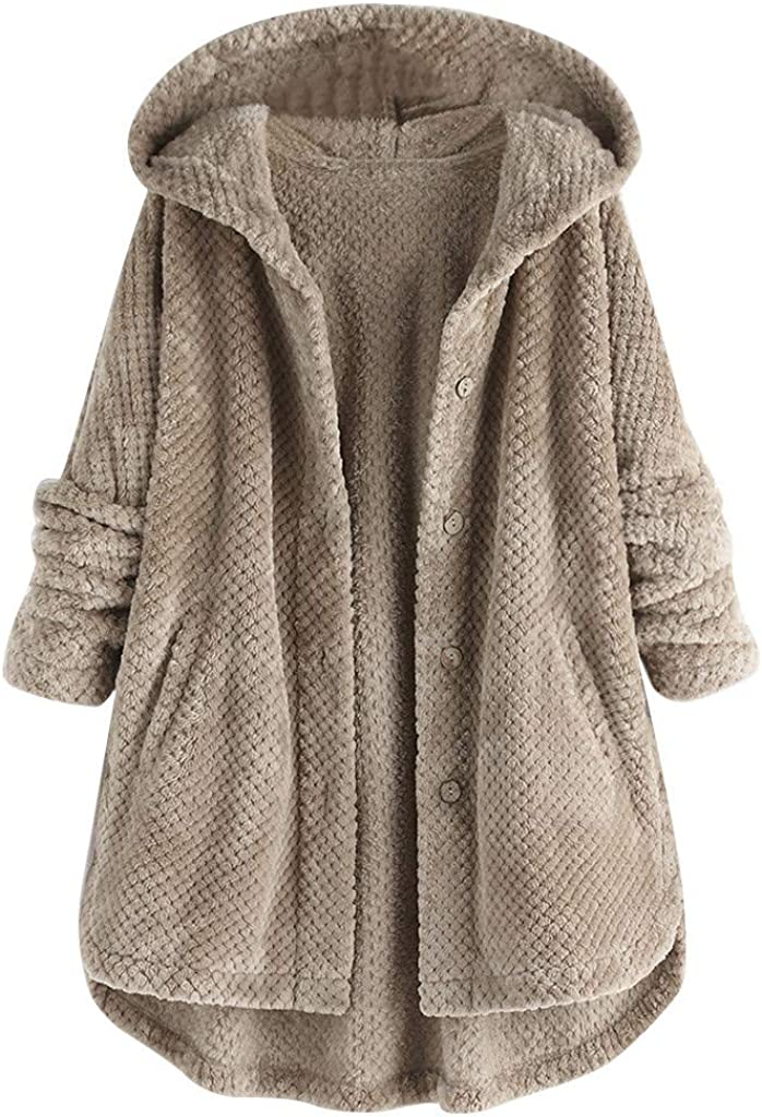 TWGONE Cardigan Sweaters for Women with Buttons Plus Size Fleece Irregular Long Sleeve Hooded Coat with Pockets
