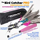 Pets Can Play The Bird Catcher PRO EX Extendable Interactive Cat Teaser Wand Rod with Super Guinea Fowl Feather Refills and Storage Bag