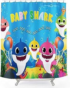 Coxila Baby Shark Shower Curtain Cartoon Funny Ocean Animal Fish Kid Sea World Coral 60 x 72 Inch Polyester Fabric Waterproof 12 Pack Plastic Hooks