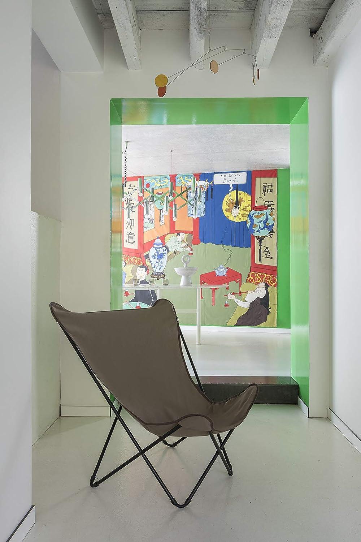 LAFUMA Pop Up XL Tripolina Deckchair Steel frame black color Airlon canvas Green color Kaki