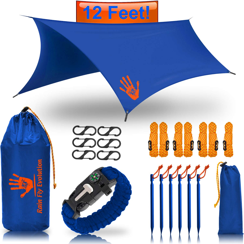Best Choice Products Hammock RAIN Fly Tent TARP 12x10 or 10x10 ft & Survival Bracelet Gear - Waterproof Eno Rain Cover - Lightweight Diamond Ripstop Nylon - Multiple Colors Blue 12x10 - Blue Bracelet by Best Choice Products