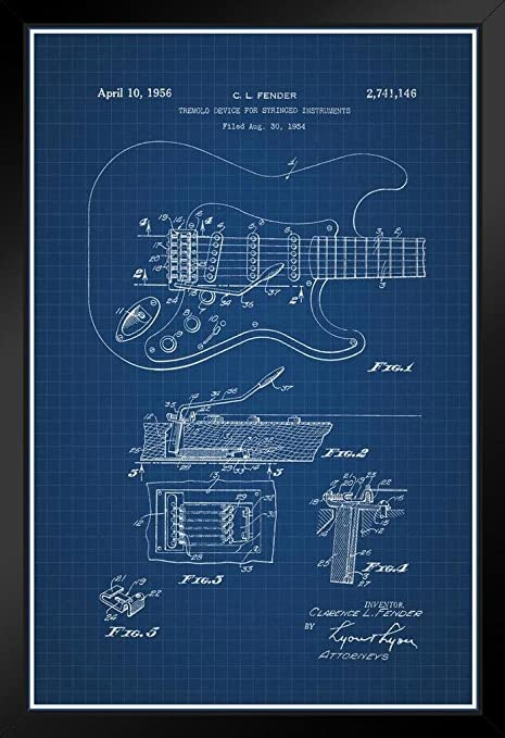 Proframes electric guitar fender stratocaster official patent proframes electric guitar fender stratocaster official patent blueprint framed poster 12x18 malvernweather Image collections
