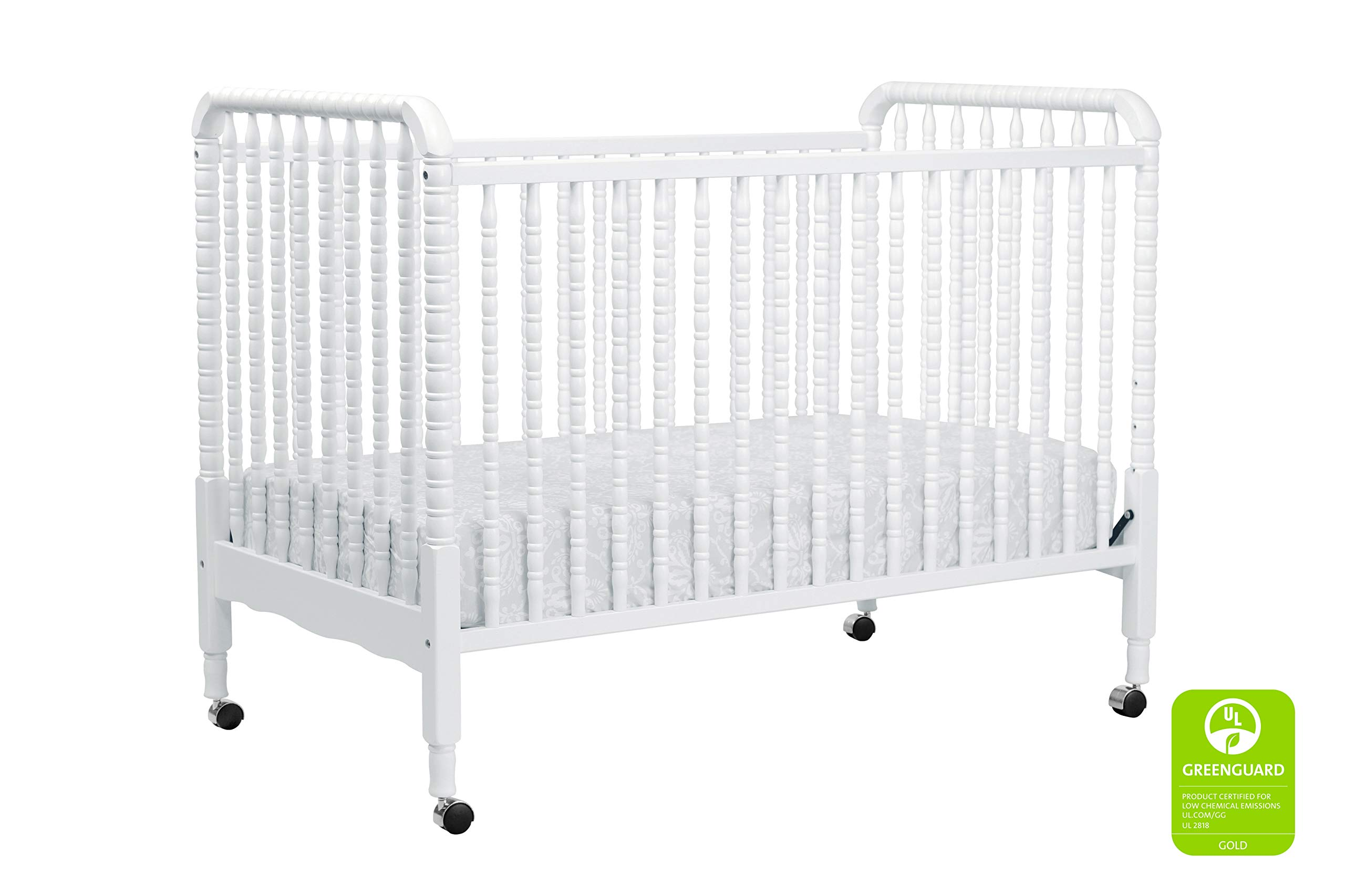 DaVinci Jenny Lind 3-in-1 Convertible Portable Crib in White - 4 Adjustable Mattress Positions, Greenguard Gold by DaVinci