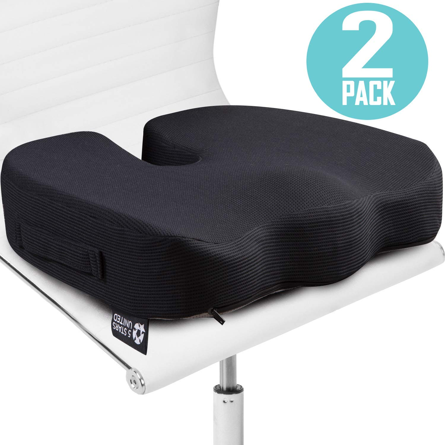 Seat Cushion Pillow for Office Chair - 2-Pack, 100% Memory Foam - Firm Coccyx Pad - for People 150-220lb - Tailbone, Sciatica, Lower Back Pain Relief - Posture Corrector for Car, Wheelchair, Desk by 5 STARS UNITED