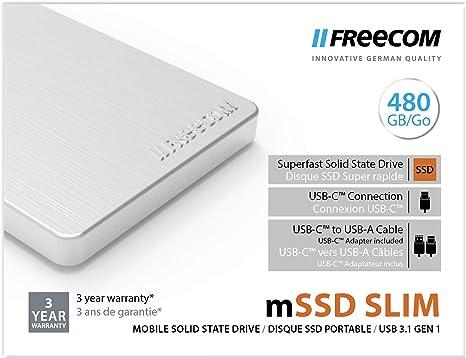 Freecom mSSD Mobile Drive Metal Slim USB 3.1 480GB Silver, 56412 ...