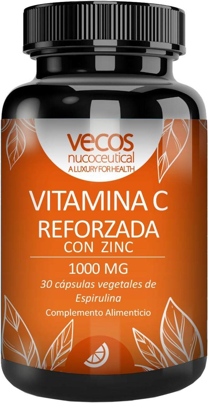 Vitamina C 1000 Mg con zinc para reforzar el sistema inmunológico – Antioxidante natural para proteger nuestro organismo contra los radicales libres – cápsulas vegetales espirulina aptas veganos (30)