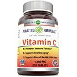 Amazing Formulas Vitamin C 1000 Mg 250 Tablets - Non GMO, Vegan - Promotes Immune Function* - Supports Healthy Aging* - Supports Overall Health & Well-Being*