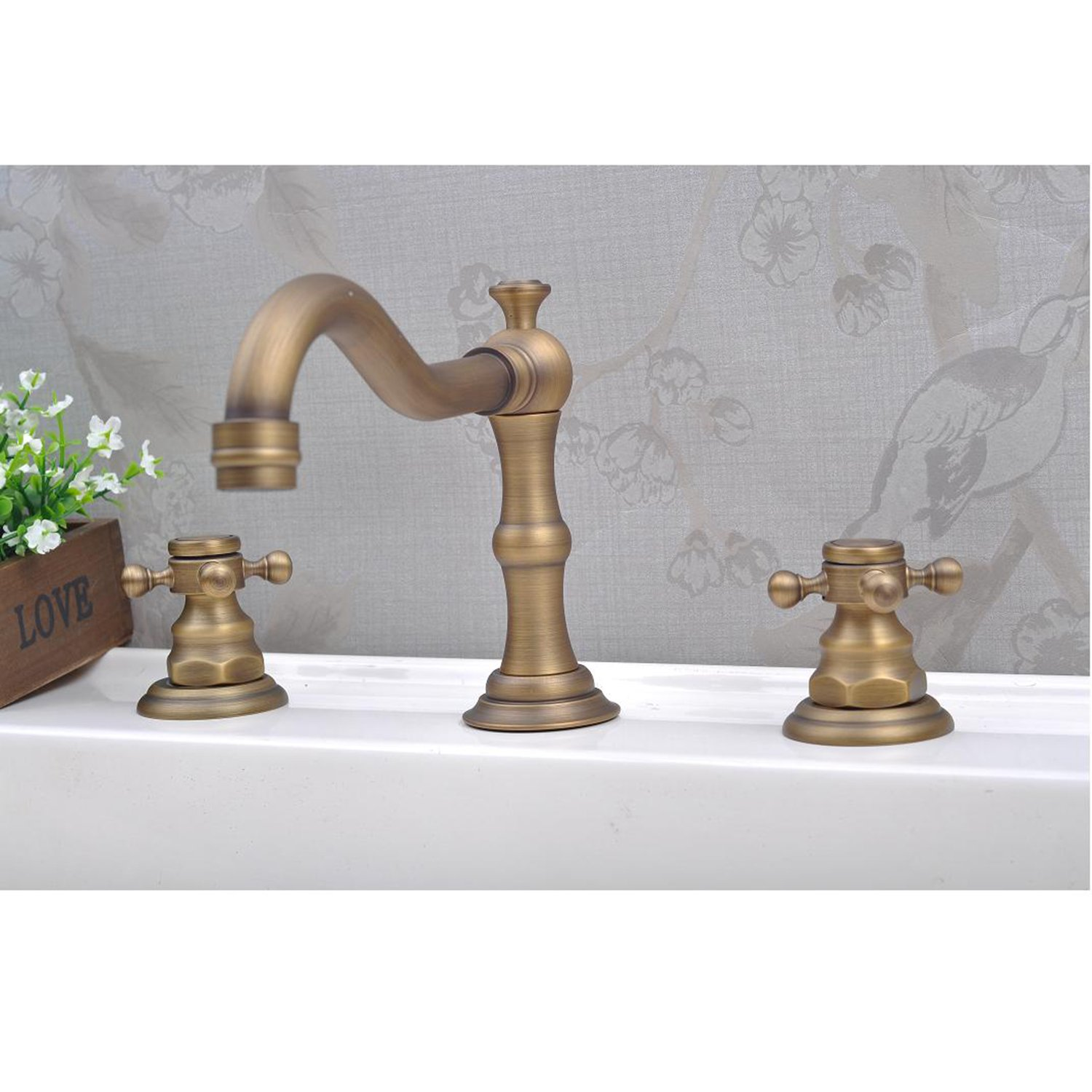 Lightinthebox® Deck Mount Contemporary Antique Inspired Solid Brass Finish Bathroom Sink Faucet Bathtub Mixer Taps Roman Tub Faucets Bath Shower Single Hole Lavatory Plumbing Fixtures Roman Tub Faucets Ceramic Valve Included Glacier Bay