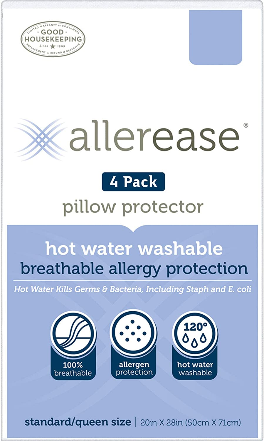 Aller-Ease Hot Water Washable Hypoallergenic Zippered Pillow Protectors, Allergist Recommended, Prevent Collection of Dust Mites and Other Allergens, King Sized, Pack of 4, 4 Pack, White
