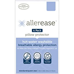 Aller-Ease Hot Water Washable Zippered, Standard/Queen-4 Pack Pillow Protectors, White