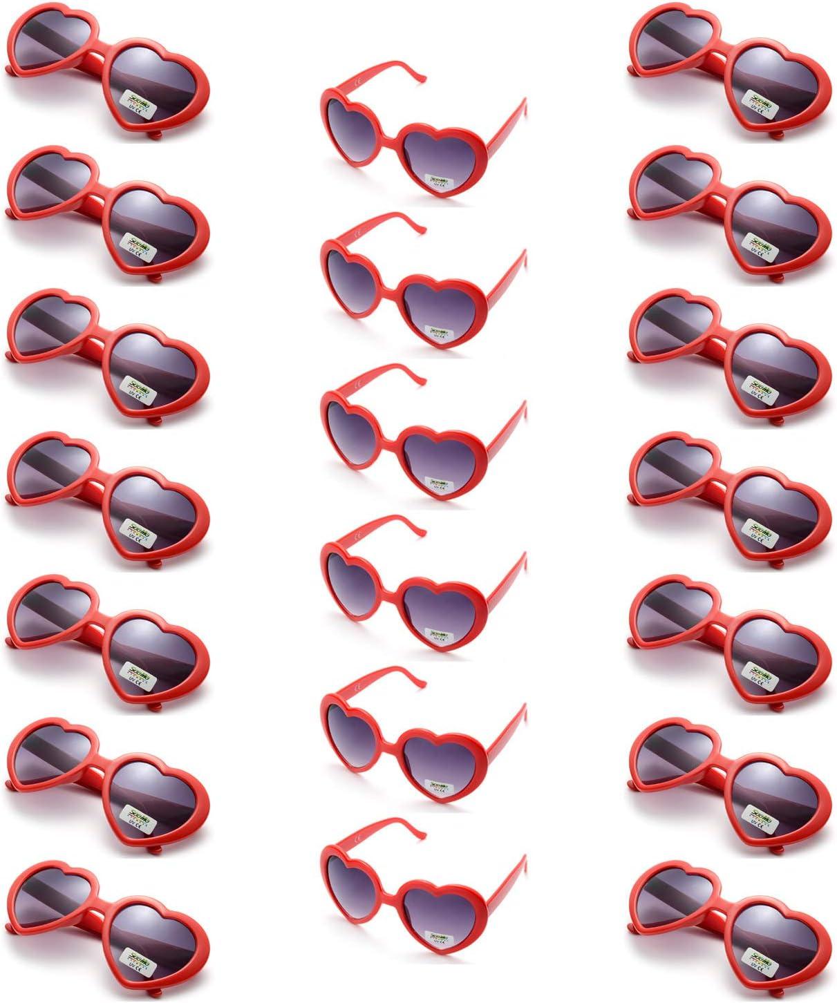 Onnea 20 Pièces Pack Lunettes de Soleil de Fête Forme de Cœur Couleur pour Adultes Femme Homme (20 Pack Rouge) 20 Pack Rouge