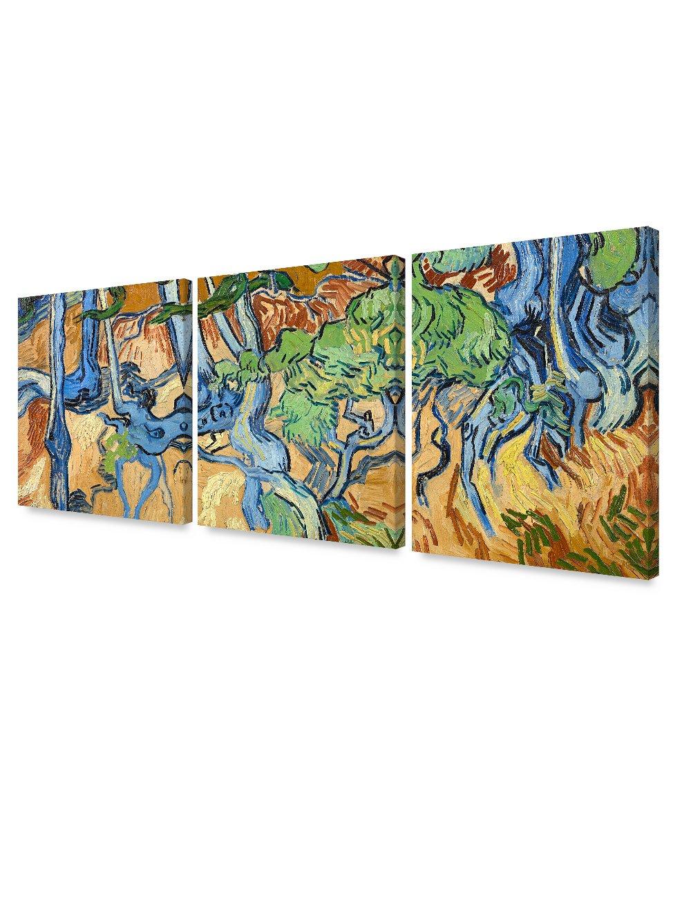 DecorArts - Tree Roots (3 Piece Set), Vincent Van Gogh Art Reproduction. Giclee Canvas Prints Wall Art for Home Decor. 24x30'', 3pcs/set