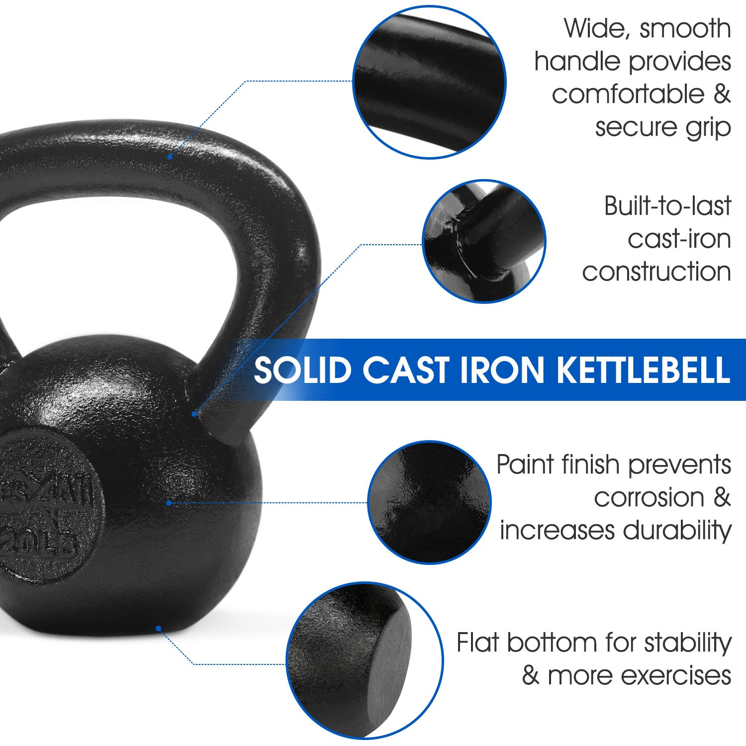 Yes4All Solid Cast Iron Kettlebell Weights Set – Great for Full Body Workout and Strength Training by Yes4All (Image #4)