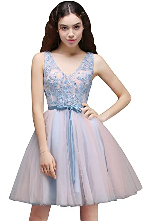 MisShow Juniors Double V-neck Short Homecoming Dresses Lace Prom Dress ,Blue,2
