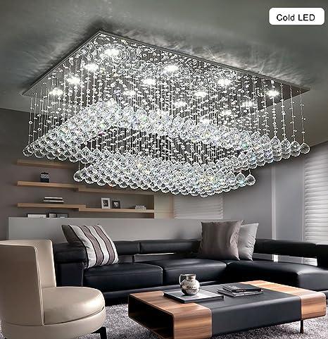 Modern Contemporary Crystal Chandelier for Living Room Rectangular Flush  Mount Ceiling Lighting Fixture, H14\