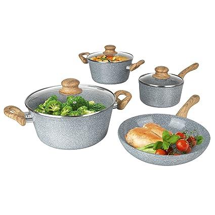 Bratmaxx 03116 de cerámica de cocina & Sartenes de | 2 ollas, 1 cazo &