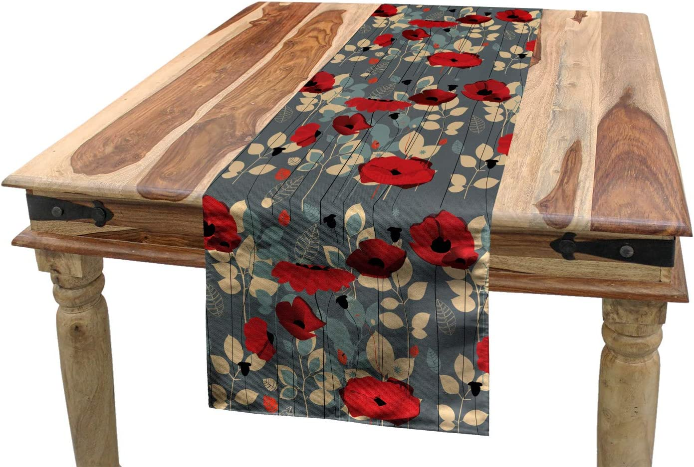 Ambesonne Poppy Table Runner, Abstraction of a Growing Floral Garden Leaves Botanical Modern Nature Display, Dining Room Kitchen Rectangular Runner, 16
