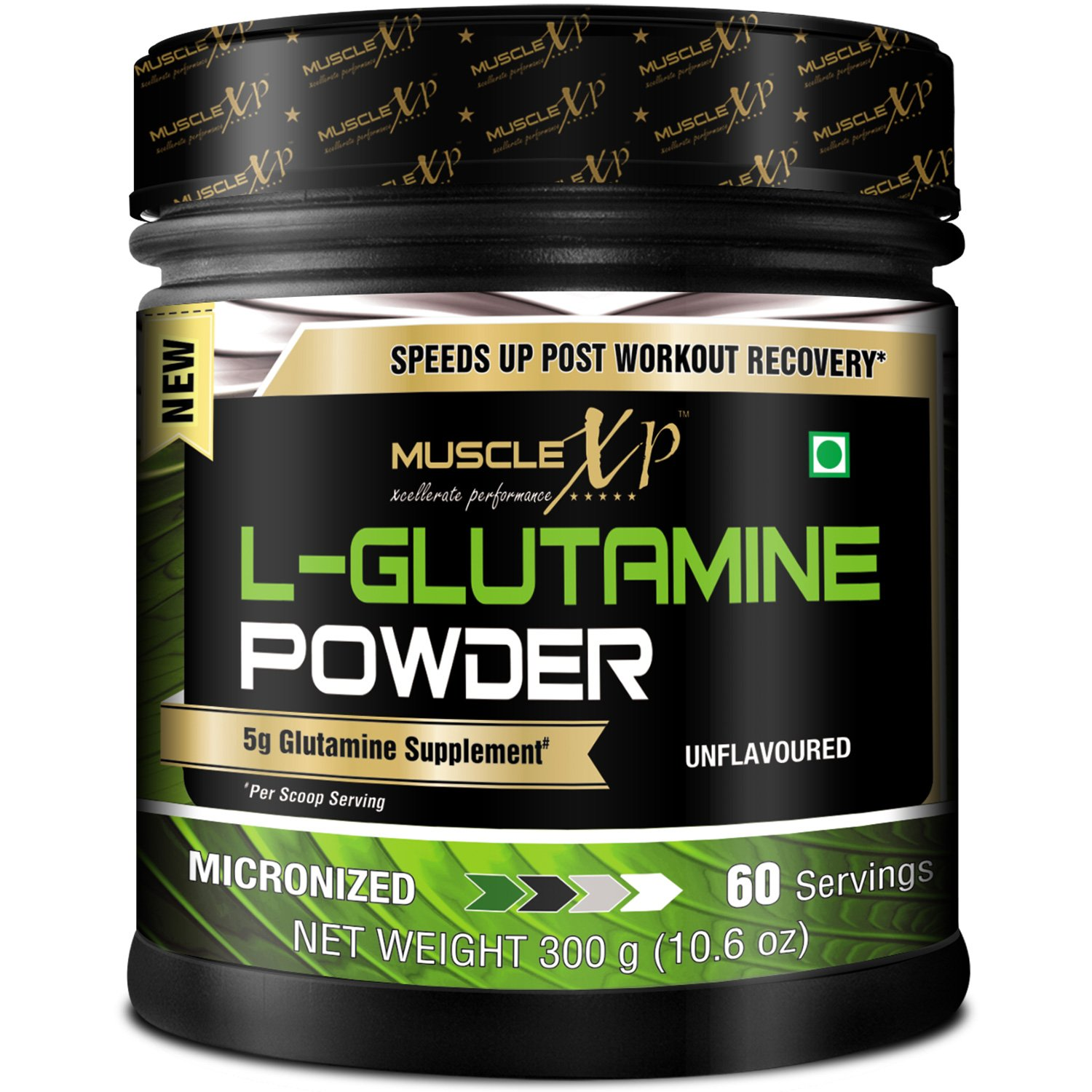 MuscleXP Micronized L-Glutamine Powder - 300Gm (10.6 Oz) Unflavored