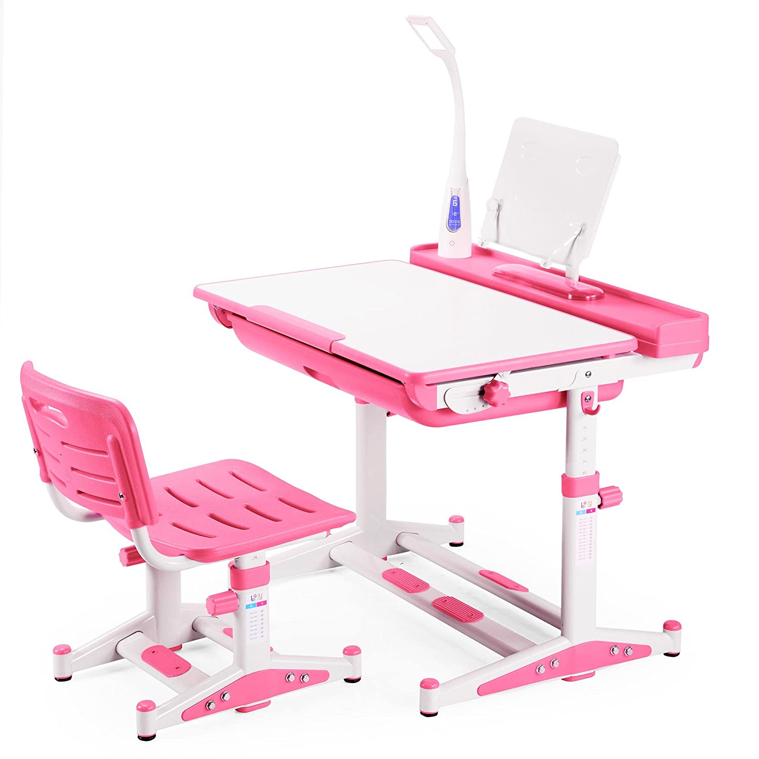 Height Adjustable Kids Desk Chair with LED Lamp FREE Steel