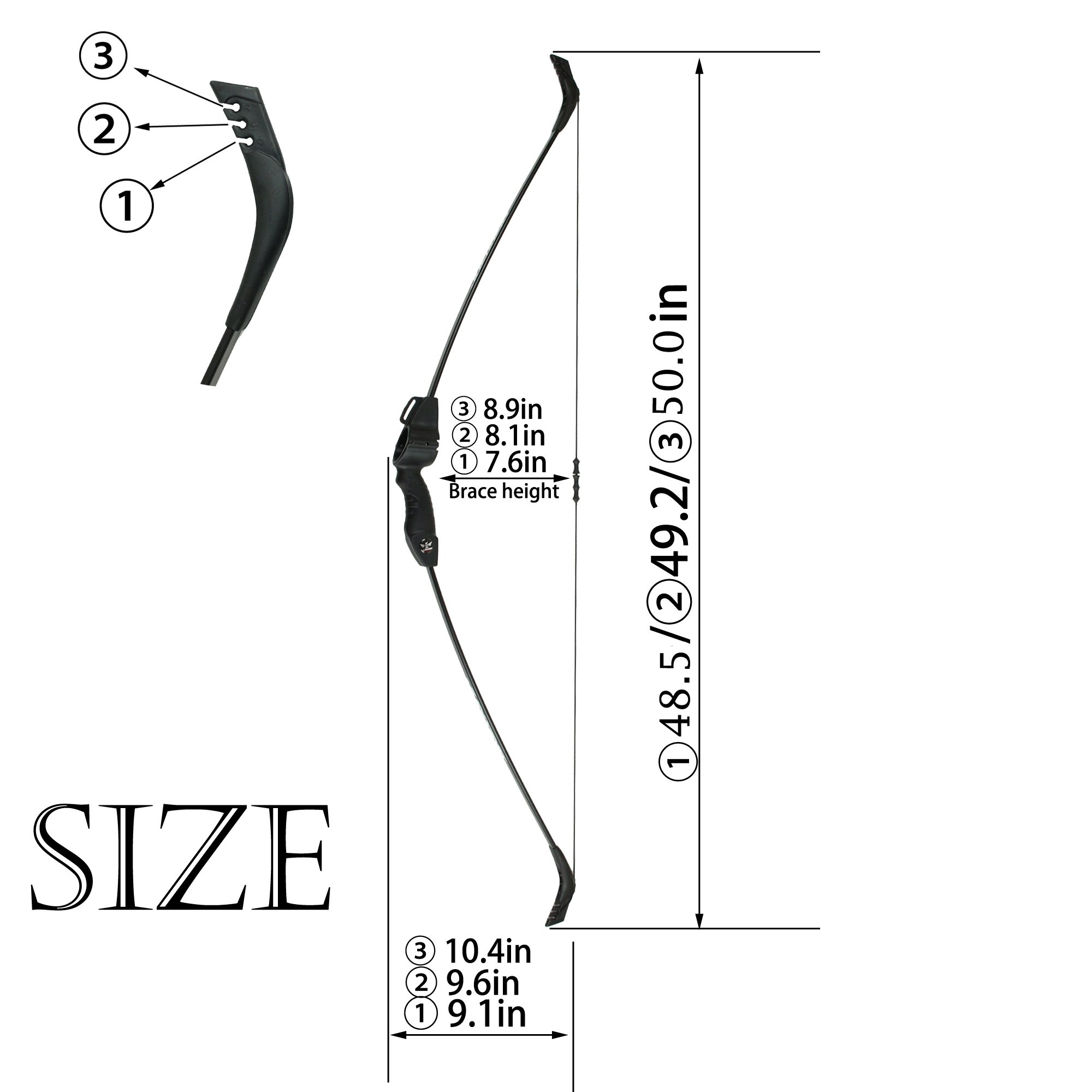 SinoArt Recurve Bow Adjustable Length 48.5''-50'' Draw Weight 14-16 Lb Right and Left Hand with 9 Arrows and 3 Target Faces by SinoArt (Image #2)