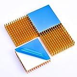 ヒートシンク 熱伝導性両面テープ付き 熱暴走対策 L40mm X W40mm X H11mm ゴールド 4個入り 冷却フィン アルミニウム製 放熱板 ファイア テレビ DIYキット ICチップ MOSFET 回路基板 ハイパワーLEDアンプに適用