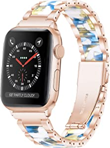 Wipalor Compatible with Apple Watch Band 38mm 40mm, Stainless Steel and Resin Band Rose Gold for iWatch, Men and Women Replacement Strap for Apple Watch Series 6 5 4 3 2 1 SE (Aegean Autumn)