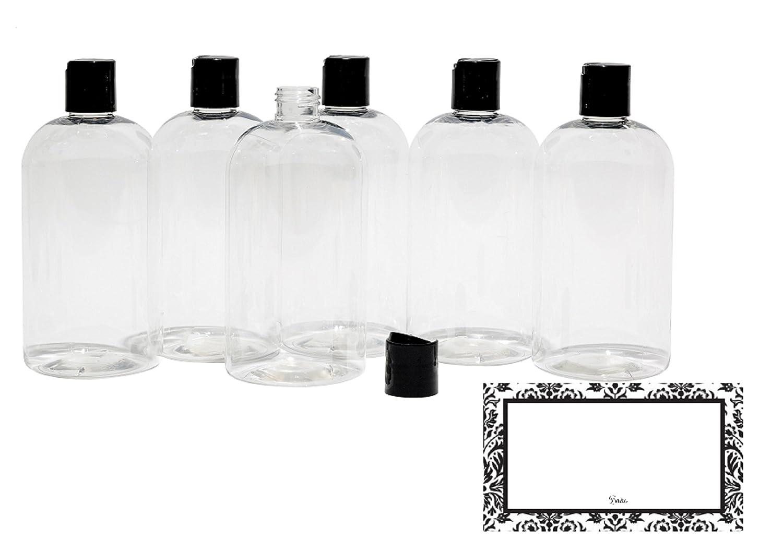 BAIRE BOTTLES -16 OZ CLEAR PLASTIC REFILLABLE BOTTLES, BLACK HAND-PRESS FLIP DISC CAPS - ORGANIZE Soap, Shampoo, Lotion with a Clean, Clear Look - PET, Lightweight, BPA Free - 6 Pack, BONUS 6 LABELS